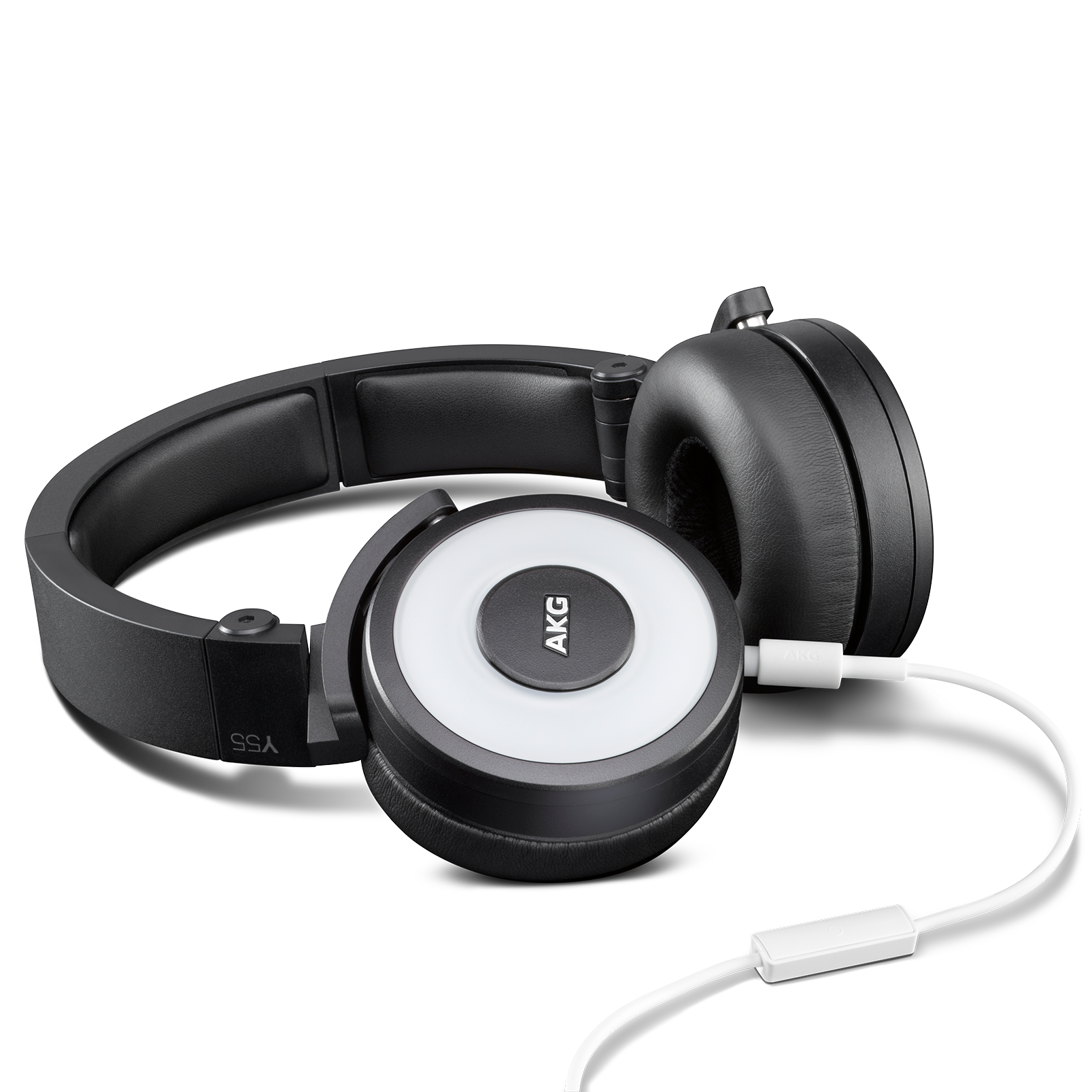 Y55 - White - High-performance DJ headphones with in-line microphone and remote - Detailshot 1